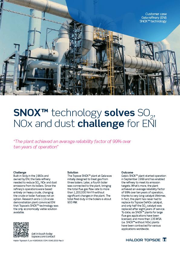 Gela-refinery-SNOX technology-SO2-NOx-solutions-customer case