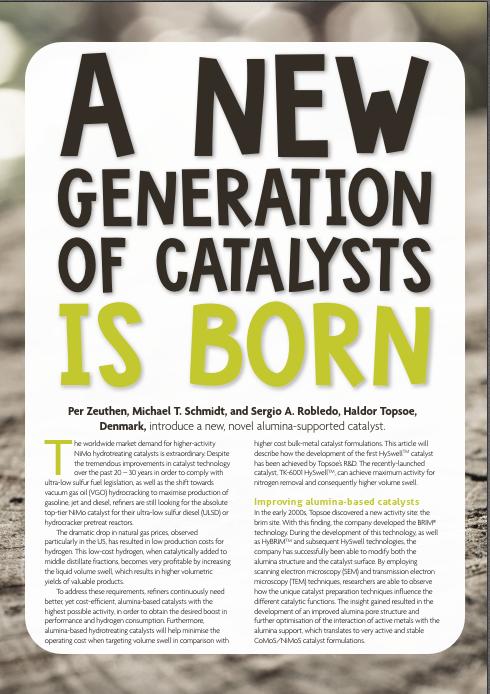 New generation of catalysts - snapshot